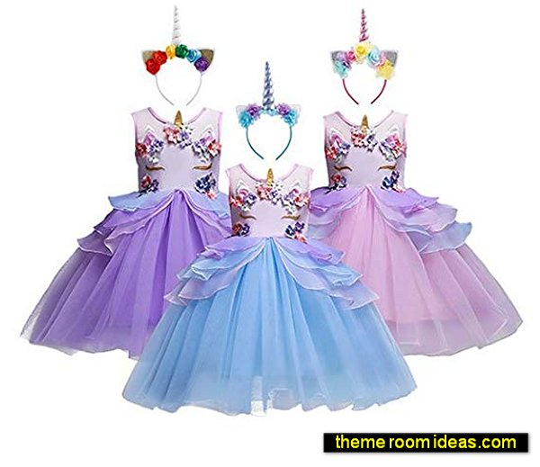 unicorn costumes Mythical Costume Cosplay Princess Dress up Birthday Pageant Party Dance Outfits Evening Gowns
