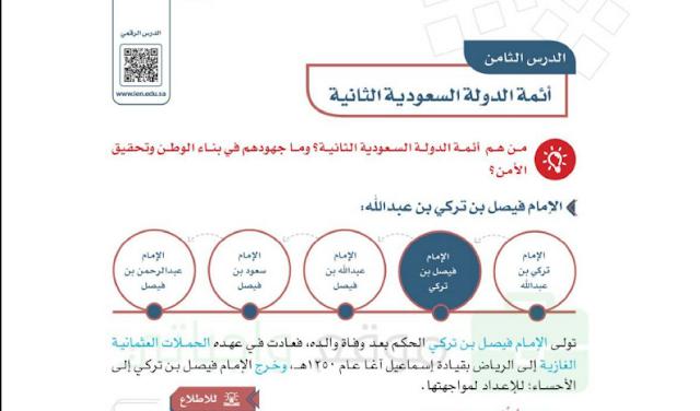 حل درس أئمة الدولة السعودية الثانية للصف السادس ابتدائي
