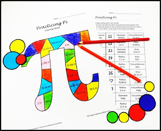 a colorful pi colored and an accompanying worksheet to calculate circumference and area of circles