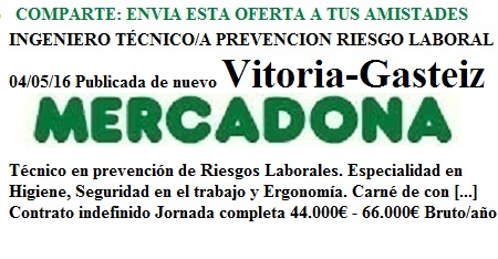 Vitoria-Gasteiz. Lanzadera de Empleo Virtual. Oferta Mercadona