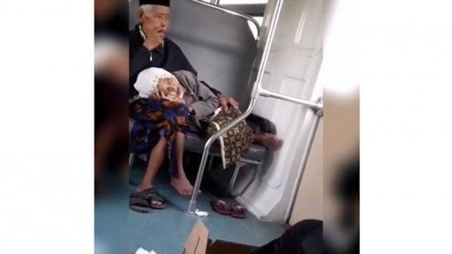 Kisah Romantis di Balik Video Viral Nenek Tidur di Pangkuan Kakek saat Naik Kereta Prameks