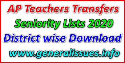 AP Teachers Transfers Seniority Lists 2020 District wise