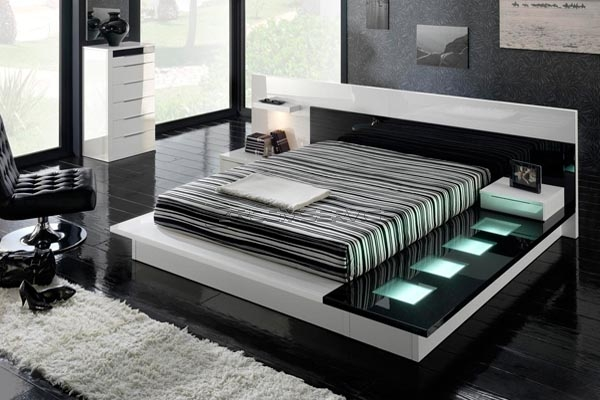 اللون الاسود في الديكور black-bedroom-design