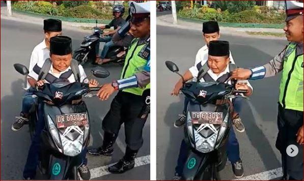 Tingkah Bocah SMP Bonceng 2 Di Tilang Polisi, Tidak Pakai Helm Berani Lewat Didepan Polisi