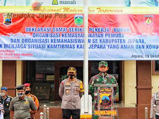 Deklarasi Damai Ormas Jepara untuk menjaga situasi Kamtibmas yang aman dan kondusif.