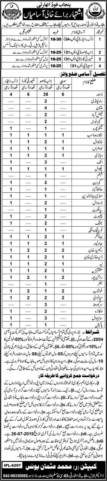 Punjab Food Authority Jobs 2019 - 450+ Jobs