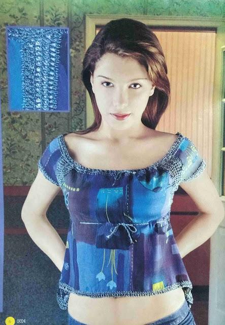 Patrón #1716: Blusa Azul a Ganchillo