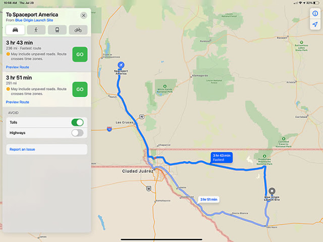Just a 4 hour drive between Virgin Galactic and Blue Origin launch sites (Source: Palmia Observatory)