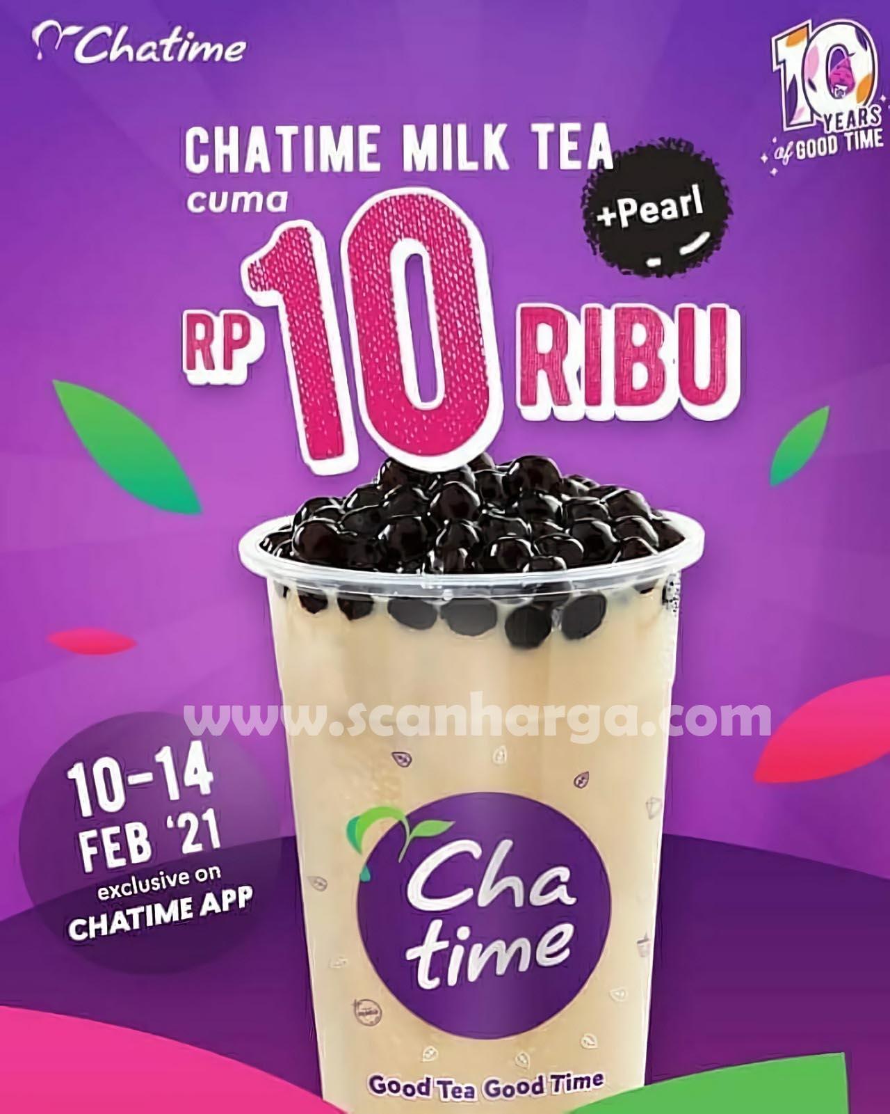 CHATIME Promo MILK TEA + PEARL! Harga cuma Rp 10.000