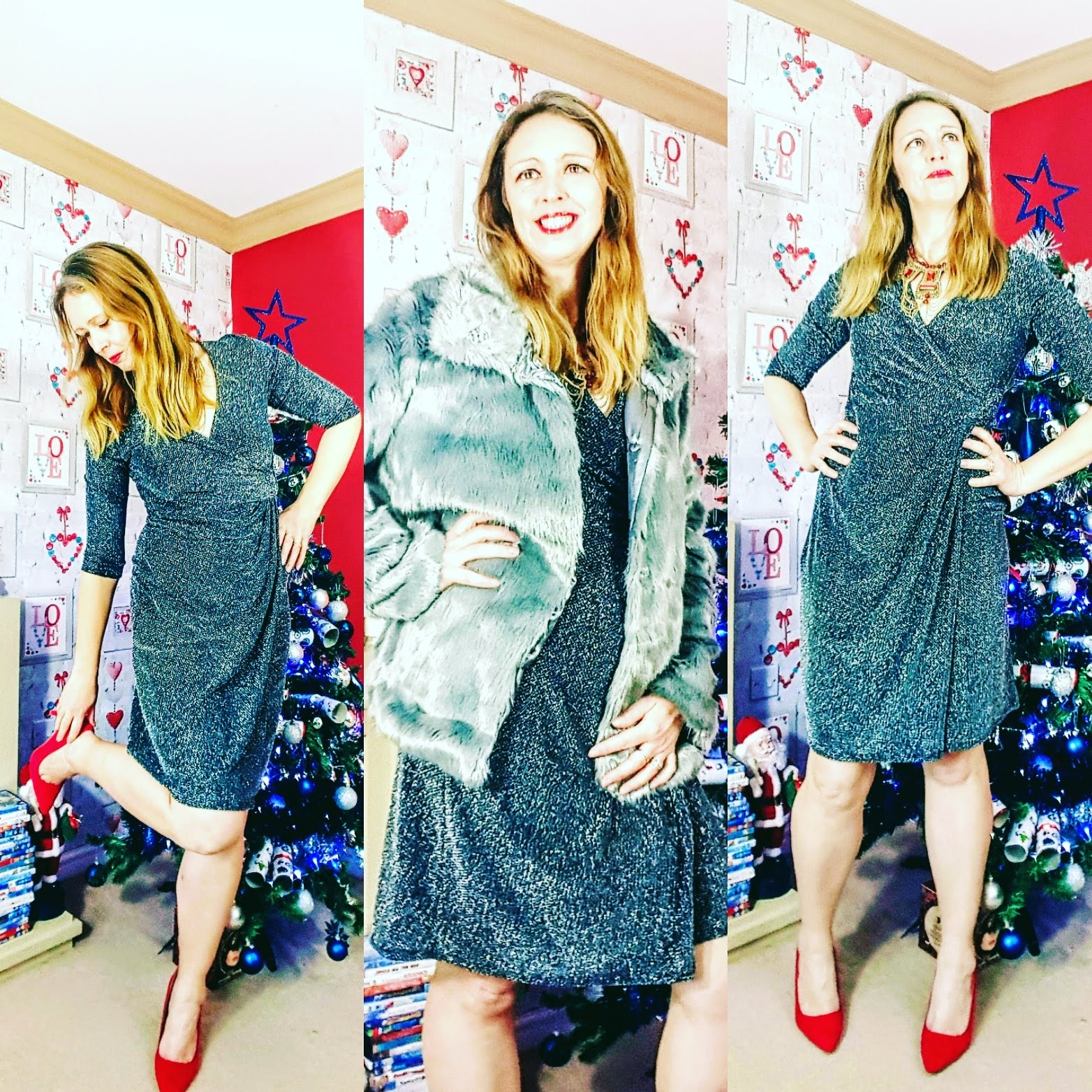 Getting Ready For Christmas: Faux Fur Jacket And Silver Dress