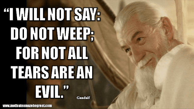 """Gandalf Quotes For Wisdom And Inspiration: """"I will not say: do not weep; for not all tears are an evil."""" - Gandalf"""