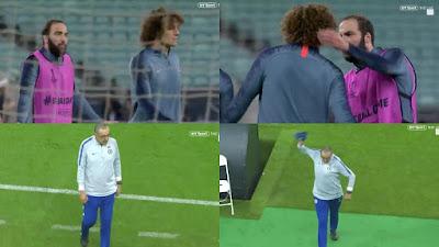 Sarri enojado con David Luiz y Higuain entrenamiento final Europa League