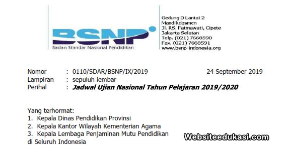 Jadwal UN UNBK UNKP Tahun 2020 SMP/MTs, SMA/MA, SMK/MAK