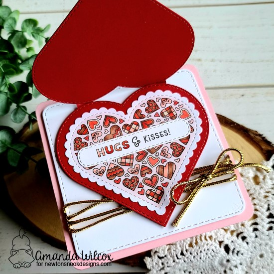 Heart Shaped Valentine card by Amanda Wilcox | Heartfelt Love Stamp set, Heart Frames Die Set, Frames Squared Die Set and Banner Trio Die Set by Newton's Nook Designs