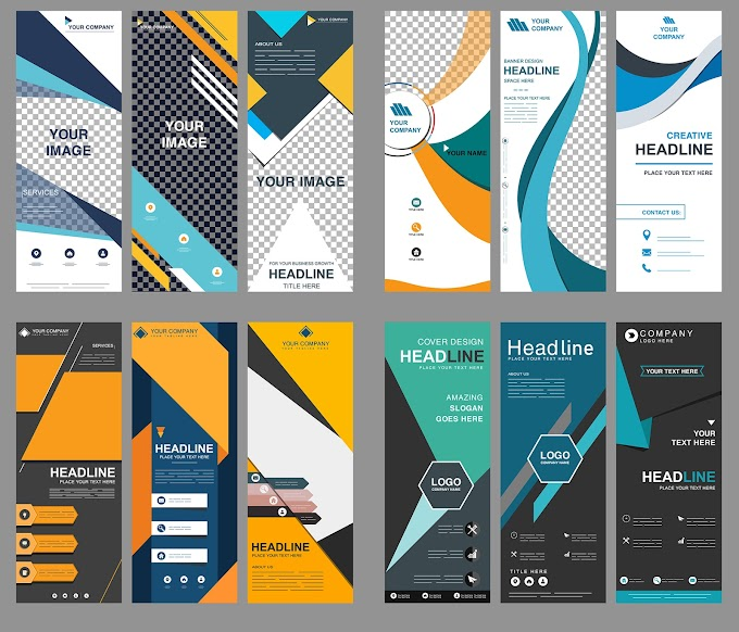 Corporate banners collection modern colorful vertical standee shapes Free vector