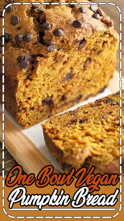 Vegan Pumpkin Bread Recipe. Easy pumpkin loaf filled with pumpkin puree, pumpkin pie spice, walnuts and chocolate chips. Use pumpkin seeds, currants for variation. Vegan Fall Recipe. Makes 1 8.5 by 4.5 inch loaf. You can also use other size loaf pans.