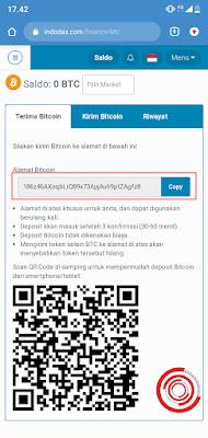 3. Terakhir pada kolom Alamat Bitcoin itulah address BTC kalian. Jadi jika ingin melakukan deposit atau menerima BTC gunakan address tersebut. Karena itu khusus untuk Bitcoin saja.