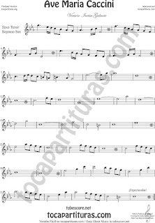 Soprano Saxophone and Tenor Sax Sheet Music Ave Maria by Caccini  Classical Music Scores
