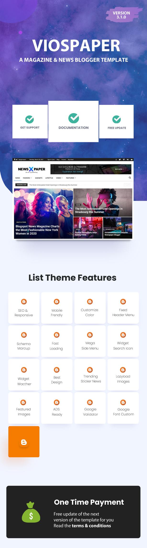 Viospaper Pro - Best Theme Blogger for Magazine