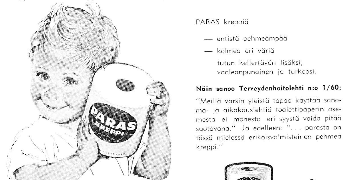 uusi korkea yksityiskohtaiset kuvat paras verkkosivusto Vanhoja mainoksia: WC-paperi 1960