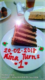 gambar sepotong kek sambut ulang tahun kelahiran Aina yang pertama