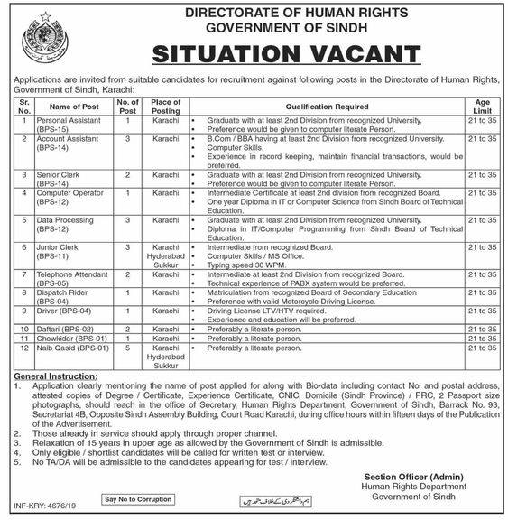Jobs In Directorate Of Human Rights in Sindh for Junior Clerk, Data Processing Assistant & More