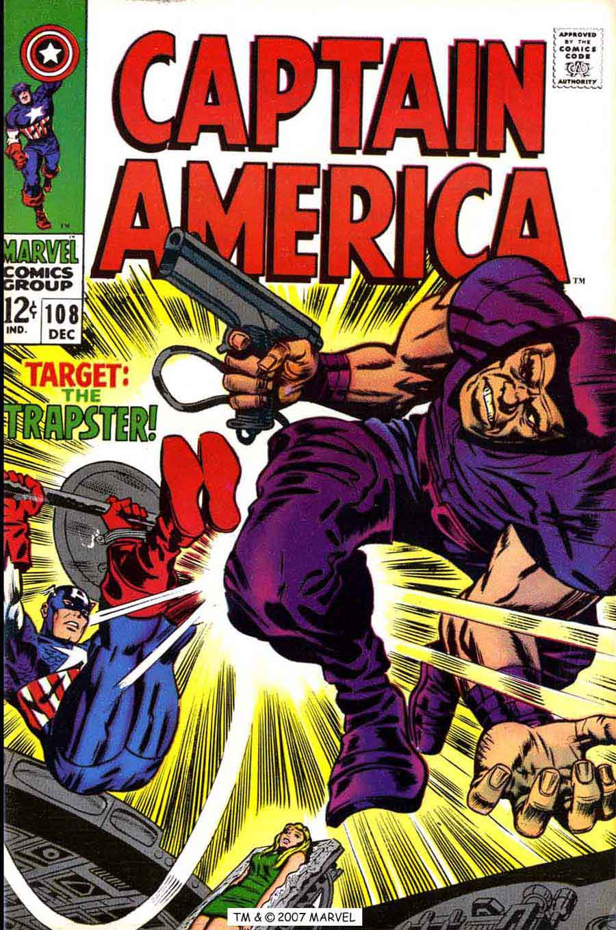 Captain America v1 #108 marvel comic book cover art by Jack Kirby