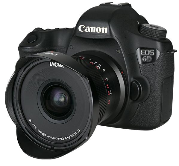 Объектив Laowa FF 14mm f/4 Zero-D с камерой Canon