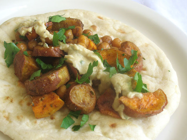 Vegetarian sweet potato and chickpea wraps