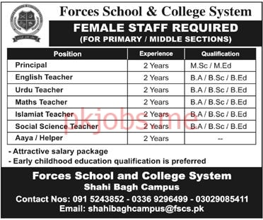 Latest Forces School & College System Teaching Posts 2021