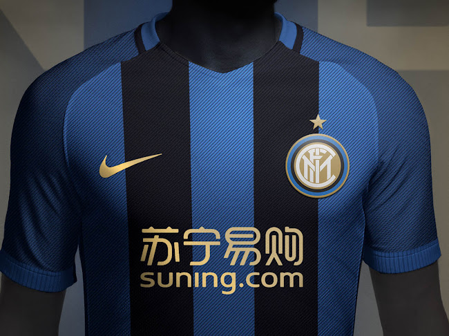 Rupertgraphic s Inter Suning 2018-19 home shirt combines the iconic blue  and white stripes look with gold for logos. 737c99f82