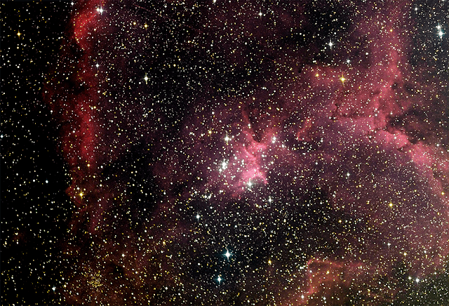 "The central region of IC 1805,  the ""Heart Nebula"" in Cassiopeia - Image by Insight Observatory on  ATEO-1 3 x Luminance at 300 seconds, 3 x Red, Green, Blue at 120 seconds."
