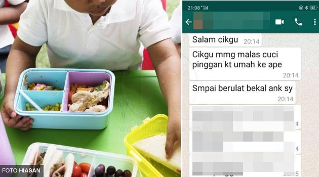 'Cikgu memang malas cuci pinggan ke, sampai berulat bekal anak saya' - Ibu serang guru tadika di WhatsApp Group