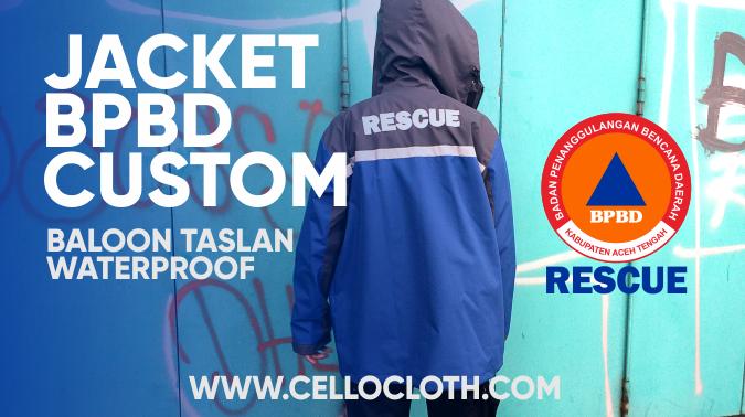 Produksi Jacket Waterproof Bahan Anti Air BPBD Kombinasi Abu Tua Oranye dan Biru Benhur