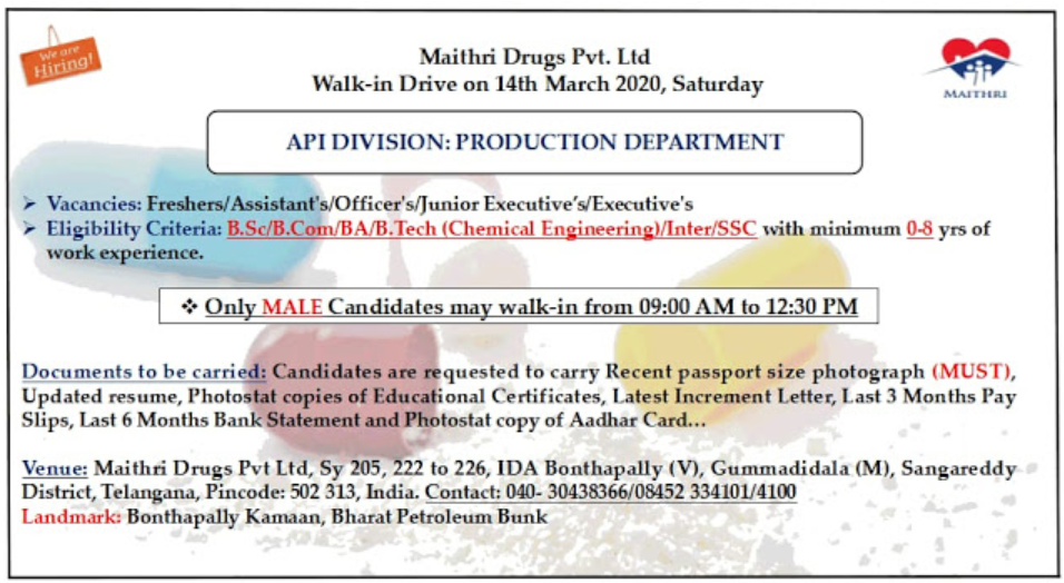 Maithri Drugs Pvt LTD – Walk in Drive for Production on 14th March 2020