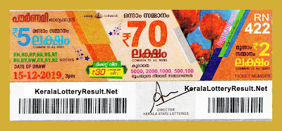 Kerala Lottery Result 15-12-2019 Pournami RN-422