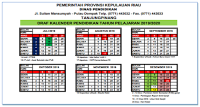 Kalender Pendidikan Untuk TK, SD, SMP, SMA/SMK Tahun Pelajaran 2019-2020