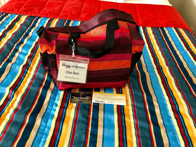 A Swag Bag on a bed in Hotel Breakers at Bloggy Con 2018
