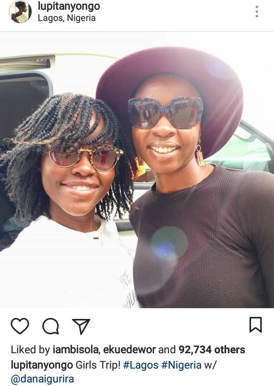 Black Panther Stars; Lupita Nyong'o and Danai Gurira are both in Lagos