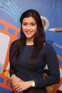 Actress Mannara Chopra Stills in Blue Short Dress at Rogue Song Launch at Radio City 91.1 FM  0033.jpg