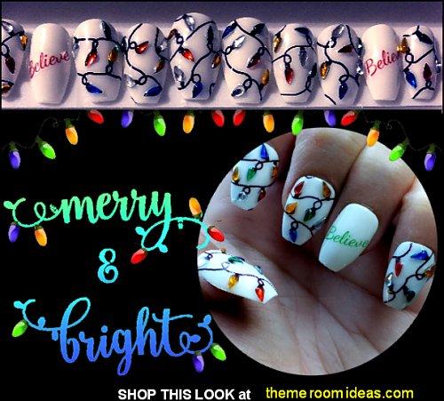 Christmas Tree Lights Nail Art  Holiday Lights Nail Art Ornaments Christmas Lights Nail Art