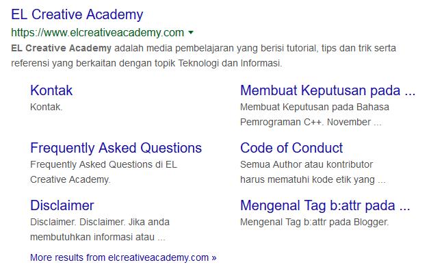 tampilan sitelink yang ada pada Search Engine