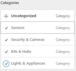 Add categories to menu, WP