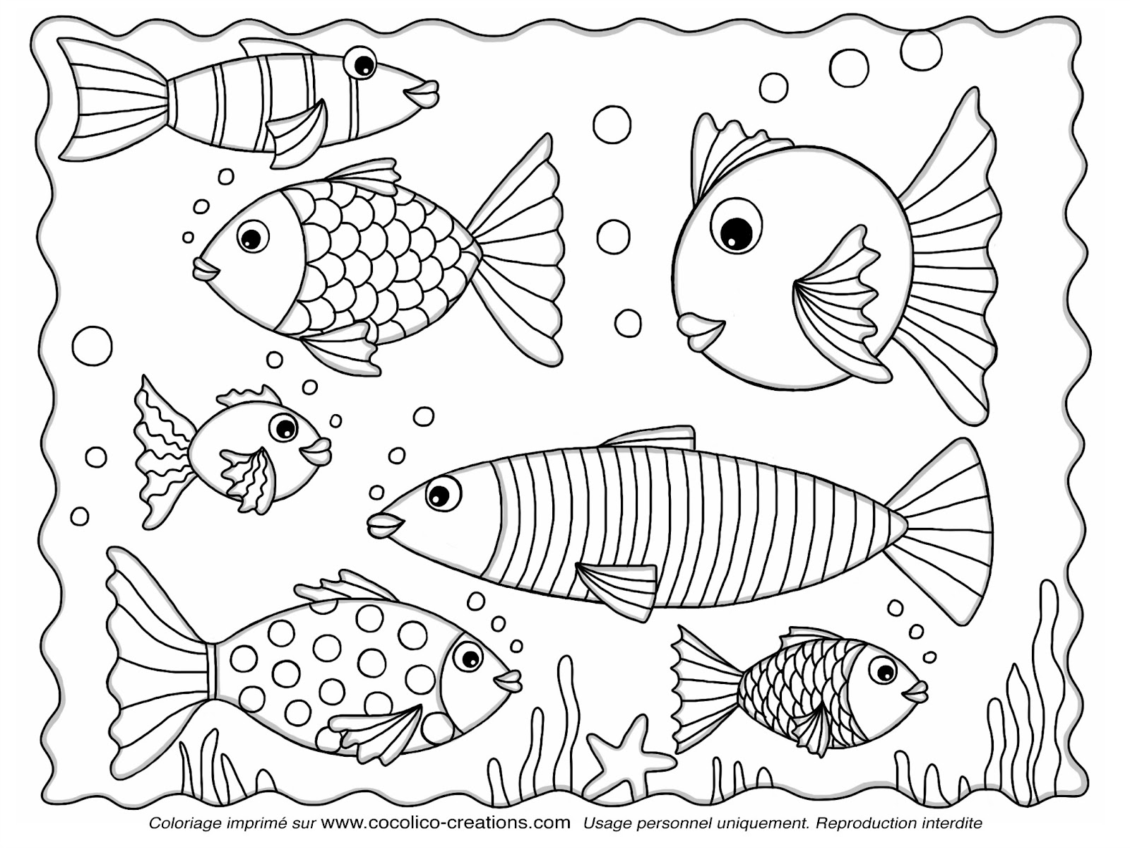 Unique Image De Poisson à Colorier