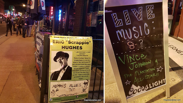 Cartazes anunciam a programação musical das casas noturnas de Beale Street, Memphis