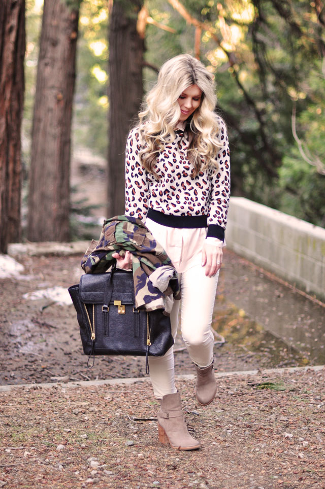 neutral outfit with camo and cheetah prints