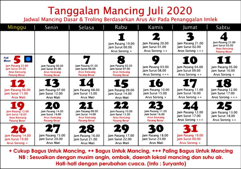 Kalender mancing juli 2020