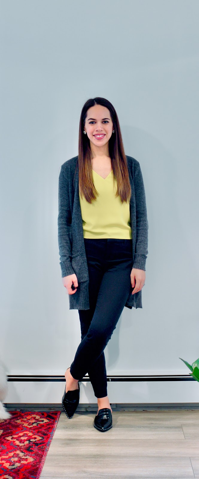 Jules in Flats - Babaton Murphy Top + Cardigan (Business Casual Winter Workwear on a Budget)