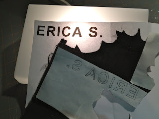 trace letters onto black fabric