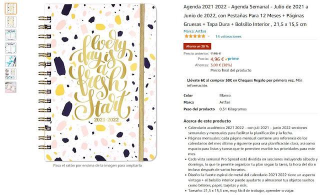 Agenda con letras en doradas, de rebaja en amazon por 4,96 euros